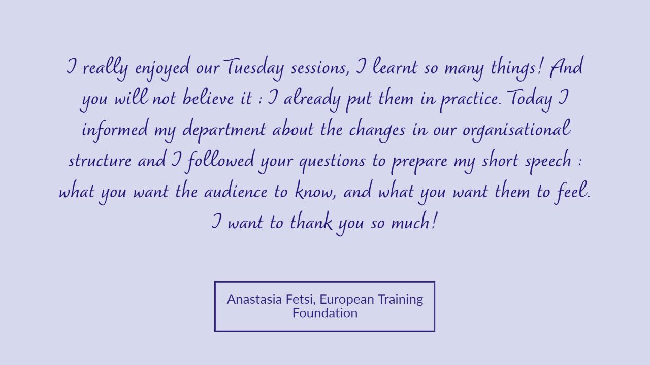 Anastasia Fetsi testimonial Tuesday Talks Public Speaking Workshop