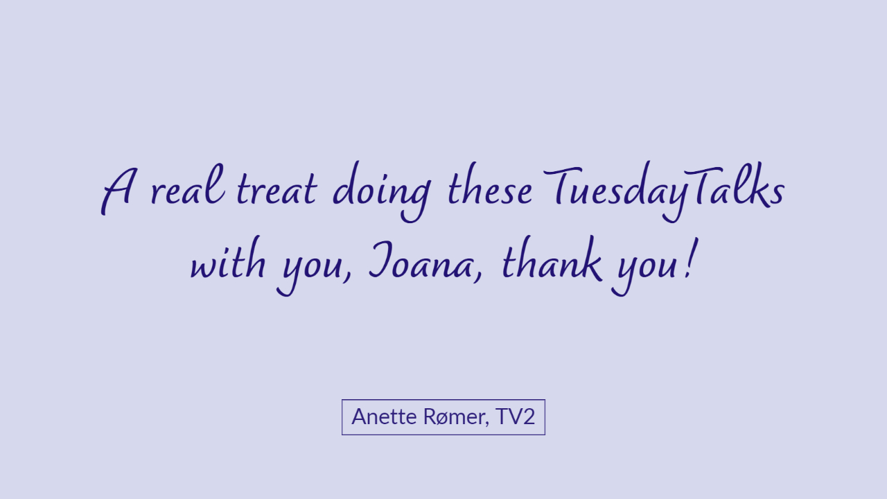 Anette Rømer TV2 testimonial Tuesday Talks Public Speaking Workshop