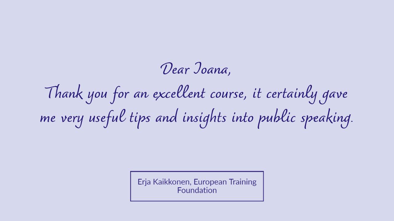 Erja testimonial Tuesday Talks Public Speaking Workshop